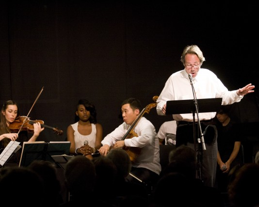 "The Parker Quartet and William Sharp performing during Yellow Barn's ""Intimate Letters"" Artist Residency (Photo: Zachary Stephens)"