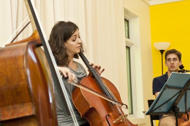 Gwen Krosnick and Fernando Arias rehearsing
