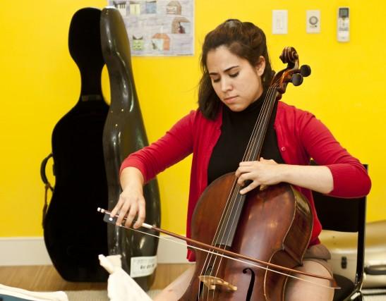Christine Lamprea rehearsing