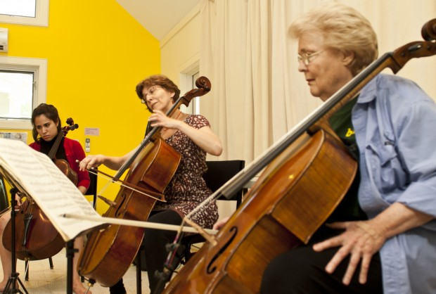 Christine Lamprea, Natasha Brosky, and Bonnie Hampton and rehearsing