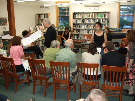 Yellow Barn musicians lead a pre-concert discussion at the Putney Public Library
